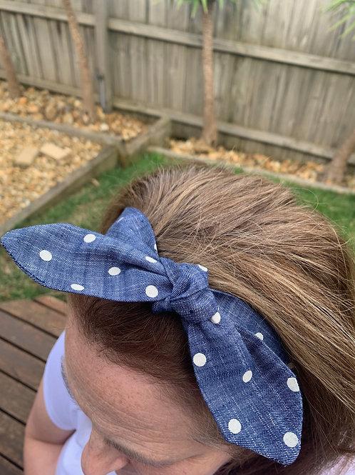 Demin Spots Adjustable Headband