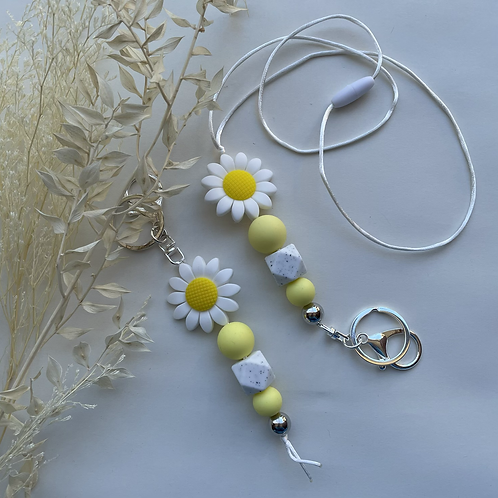 Yellow and White Daisy Silicon Keychain or Lanyard