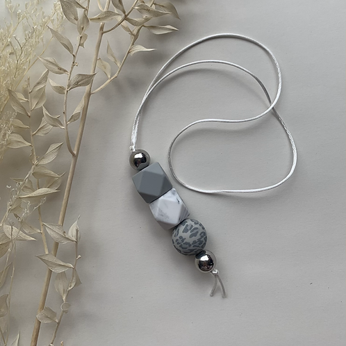 Grey Marble Leopard Hanging Keychain