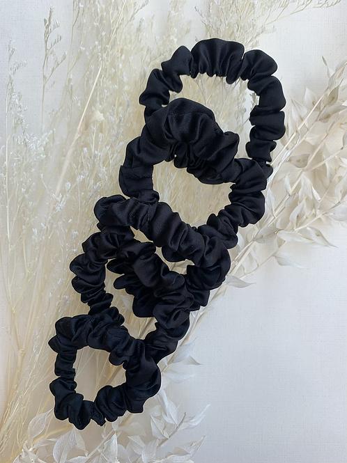 5 Pack Mini Black Satin Scrunchies