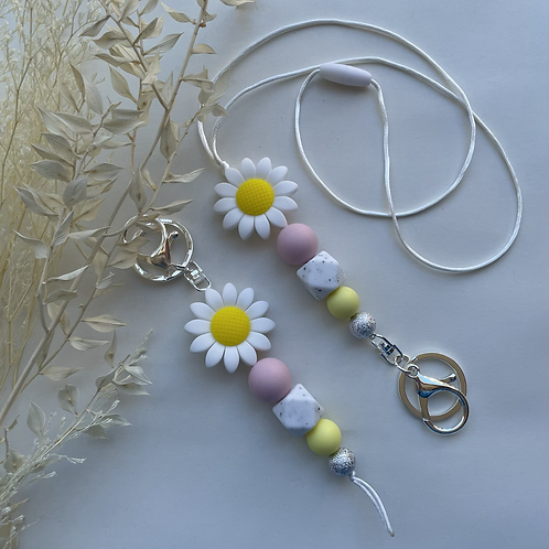 White Pink Daisy Silicon Keychain Or Lanyard