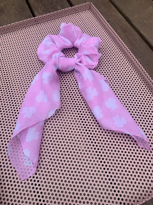 Pink Mouse Heads Scarf Scrunchies