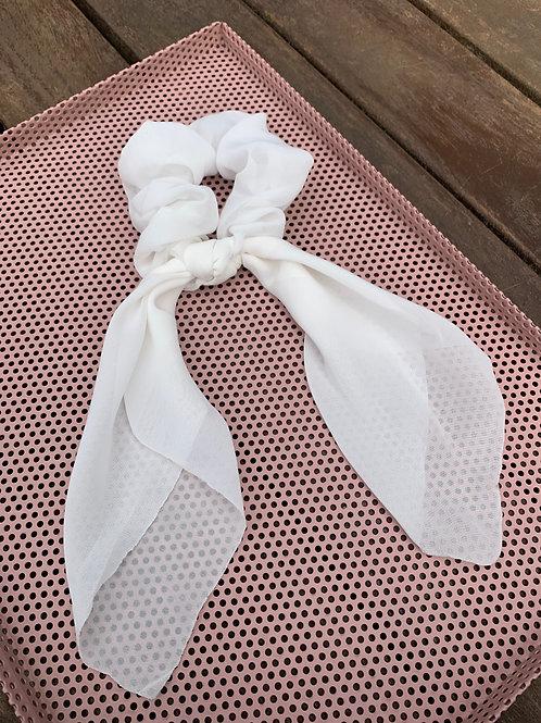 White Scarf Scrunchie