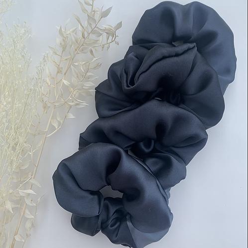 100% Black Silk Scrunchies