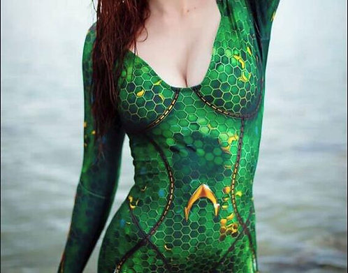 Fantasia Mera do Filme Aquaman (Com detalhes em escamas douradas)
