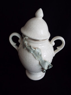 White Crackle Urn with Green Peeling