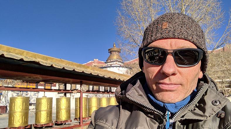 Stephen Shaw at Pelkor Chode Monastery, Tibet