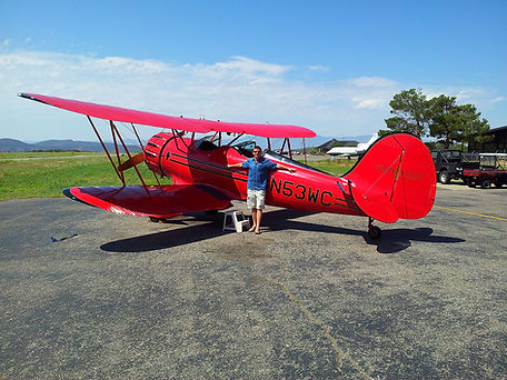 Stephen Shaw flying a plane at Red Rock, Arizona