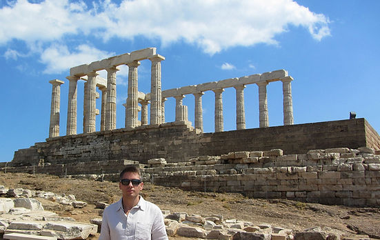 Stephen Shaw at Temple of Poseidon, Greece