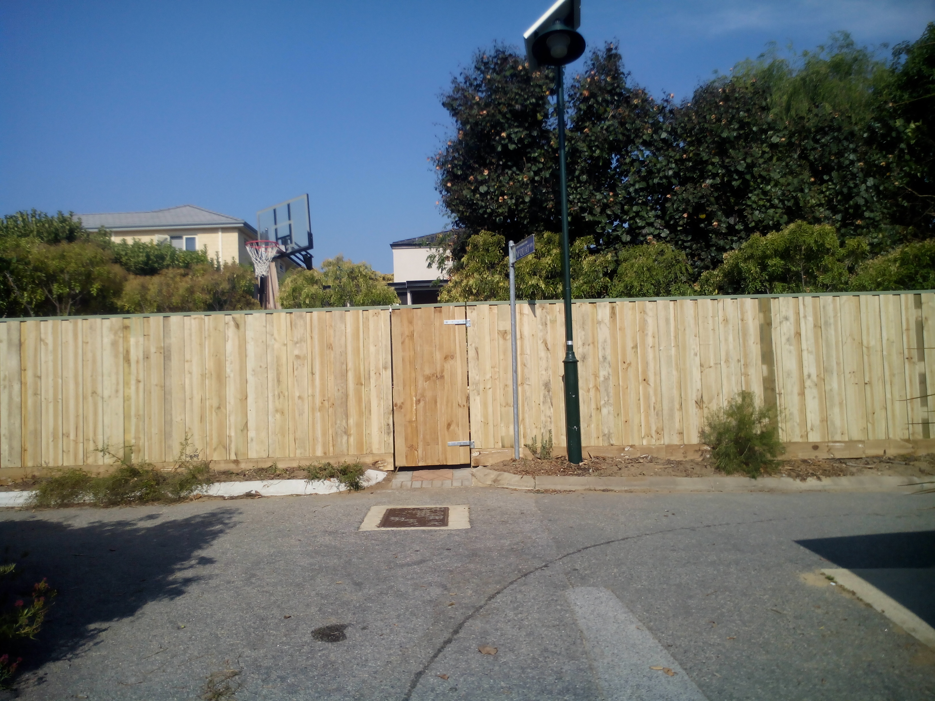 Laneway fence with gate