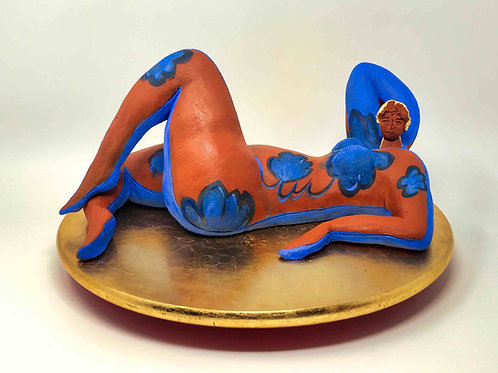 "Brigitte Saugstad ""Lady with blue Flowers"""