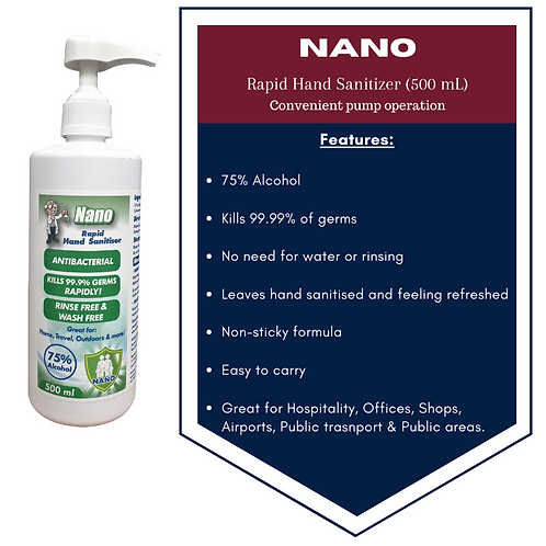 Nano Rapid Hand Sanitizer (500mL) Pump