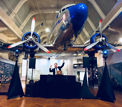 Shauna Wear Photography photo at Henry Ford Museum Wedding DJ Setup Under the Plane