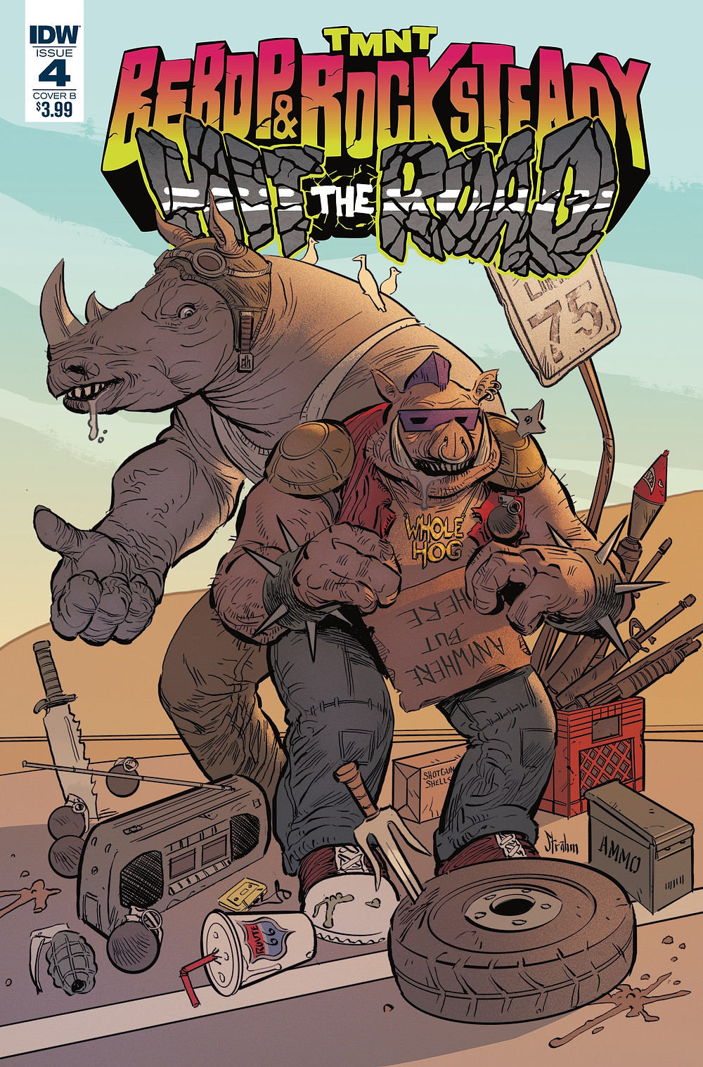 Beboy & Rocksteady Hit the Road # 4 Variant cover by Kyle Strahm
