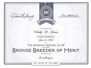 Bronze Breeder of Merit recognition