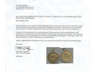 Ziva's GCHBronze Medallion