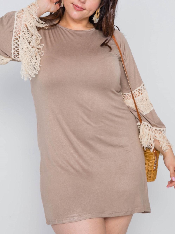Mocha & Ivory Boho Mini Dress/Tunic Top