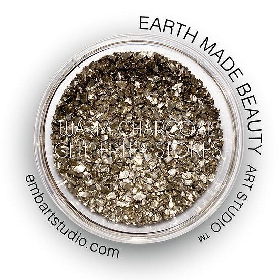Warm Charcoal Glitter Stones