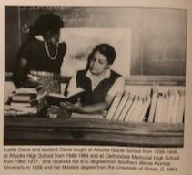 Soror Luella (McCall) Davis with a student