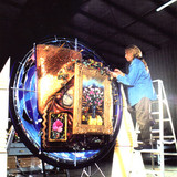 Brett works on his massive project consisting of sculpture and painting called 'Visions'.