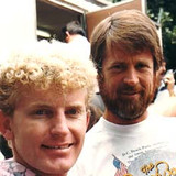 Brett often worked with popular bands to design stages and album covers. Shown here are Brian Wilson and Mike Love of the Beach Boys.