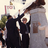 LA Mayor Brandley and Brett unveil the Eagle Monument in Japan.