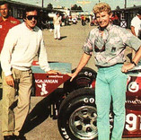 Brett and formula one race car driver Jackie Stewart with Brett's Indy 500 car.