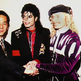 Michael, Brett, and Hiromichi Saeki; purchaser of Brett's record breaking $2.1 million painting titled 'The Book' in early 1990.