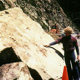 Brett inspects part of the famous Malibu Rock in 1978.