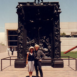 Pricilla Presley and Brett in front of Rodin's Bronze sculpture, 'Gates of Hell' at the Dallas Museum of Modern Art.