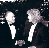 Bob Hope congratulates Brett at his unveiling ceremony of the 'We the People' project.
