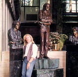 Brett with his three bronze tributes to John Lennon. The statue was placed in the foyer of the Music Academy building while the two busts are kept in Rock'n'Roll museums.