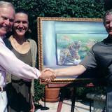 Wild Life Foundation Auction. LA Mayor Riordan congradulates Brett on his $250,000 sale.