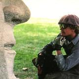 Contemplating his next cut in the John Wayne boulder.
