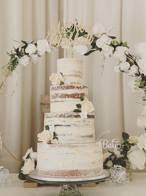 Naked/semi naked wedding cake (full payment)