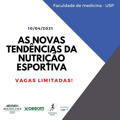 """10 de abril - Curso Online""""Novas Tendências da Nutrição Esportiva"""""""