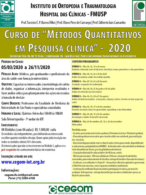 05 de Março - Curso de Métodos Quantitativos em Pesquisa Clínica