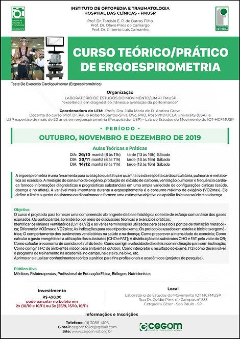 24/10, 7/11 e 5/12/2020 - Curso Teórico/Prático de Ergoespirometria