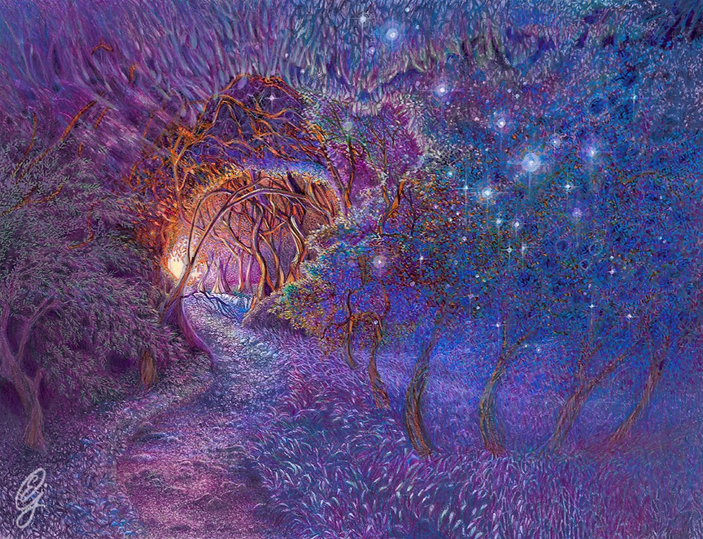 """STARRY PATH 2018 by Eva Maria Jones. This piece won honorable mention in Envision Art's """"Conduit"""", Frisco Texas."""