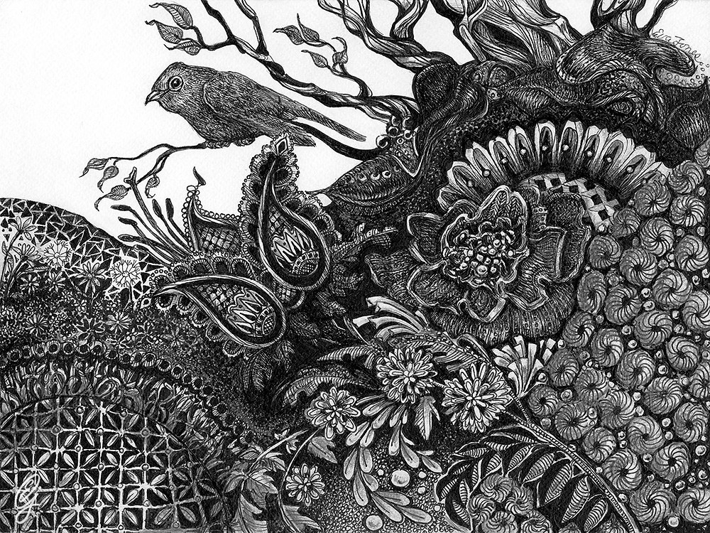 """WHIMSICAL GARDEN 2018 is one of Eva's earliest pen and ink drawings influenced by """"Zentangle""""."""