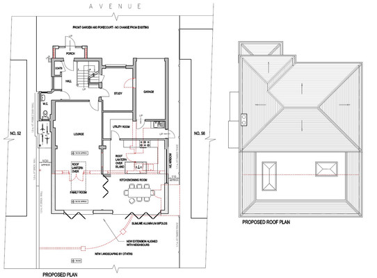 Plans for a single storey extension to a detached house