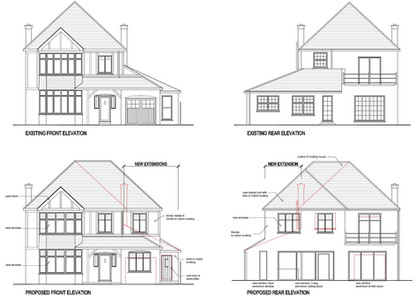 Two storey side and rear extensions to a 1930's house