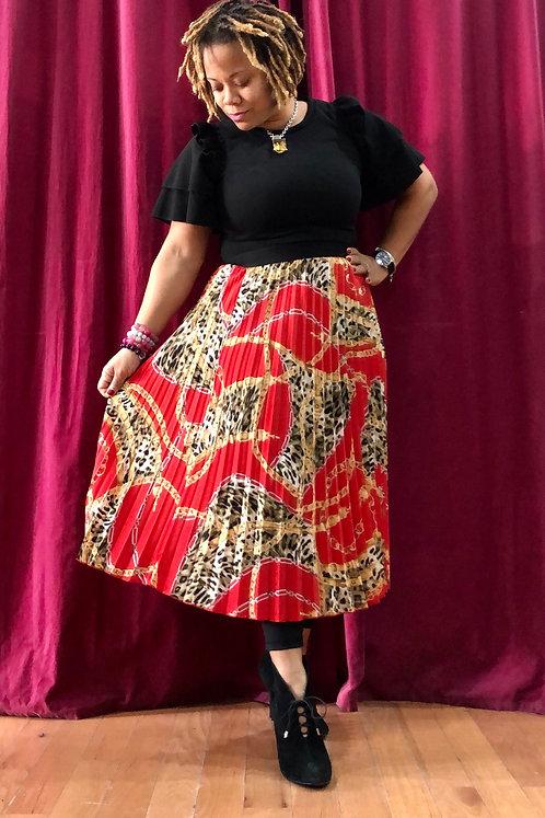 Accordion Leopard Print Skirt