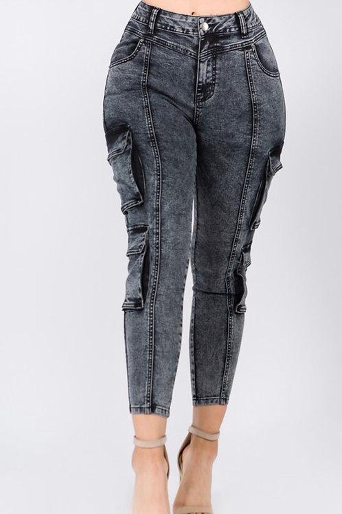 Acid Wash Cargo Jeans BLK