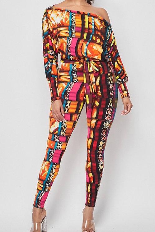 Color Mix Print Jumpsuit