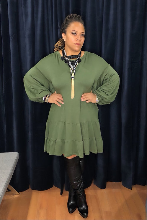 PLUS Sweatshirt Ruffled Dress OLV