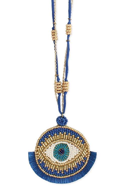 Fringed Blue Eye Pendant Necklace