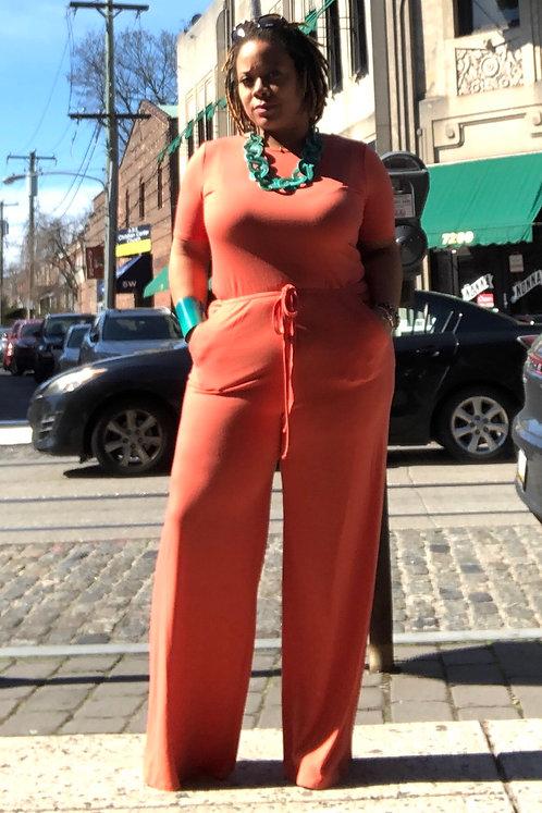 Drawstring Jumpsuit - Orange