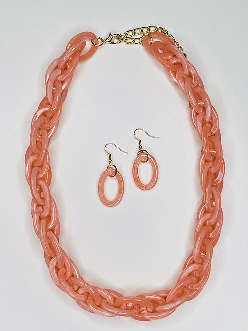 Pink Acrylic Spiga Link Necklace