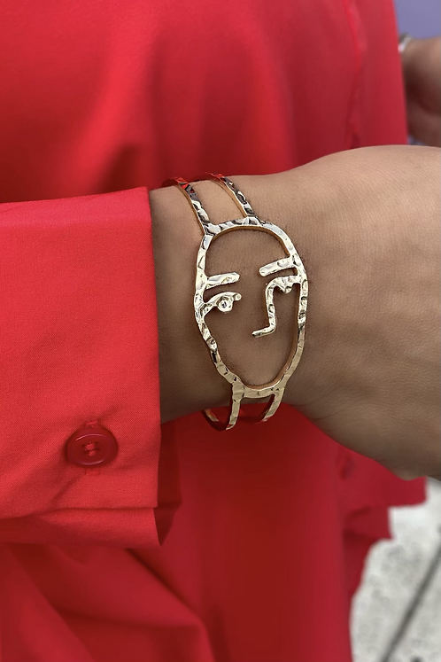 Gold Visage Cuff Bracelet